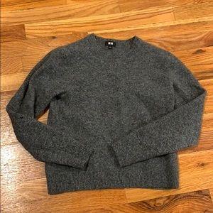 UNIQLO dark gray 100% wool crew neck sweater S